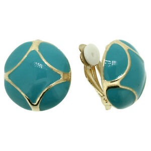 BRAND-NEW-VINTAGE-INSPIRED-GOLD-PLATED-TURQUOISE-ENAMEL-ROUND-CLIP-ON-EARRINGS