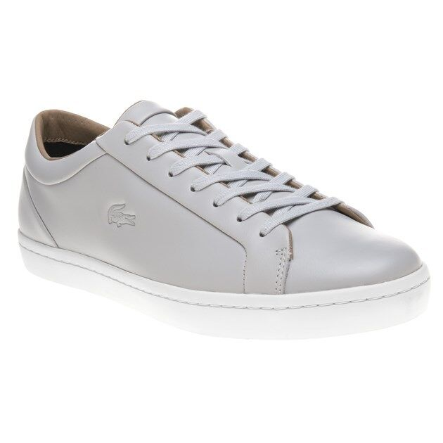 New Mens Lacoste Grey Straight Set Leather Trainers Court Lace Up