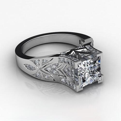 Élégant Femmes 925 Argent Bague de Mariage Princesse Cut blanc saphir Bague Taille 6-10