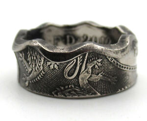 Coin-ring-from-a-British-Fifty-Pence-50p-coin-Royal-Arms-Good-luck-coin-ring