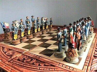 Texas Mexiko Exklusive Schachfiguren Stein Kunstharz handbemalt KH 84 mm NEU