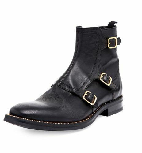 botas para hombre hecho a mano Negro Cuero Triple monje al Tobillo Zapatos Informales Ropa Formal Nuevo