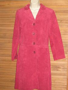 Stylish-Vintage-Margaret-Godfrey-Fushia-Suede-Leather-Coat-Jacket-Size-8P-CL151