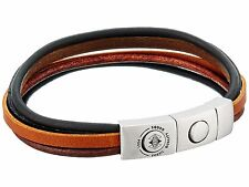 NEW FOSSIL SILVER TONE,MULTI BLACK,BROWN LEATHER STANDS CUFF,BRACELET