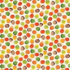 1YD Forest Friends AUTUMN POLKA DOTS Watercolor Orange Green Makower UK Fabric
