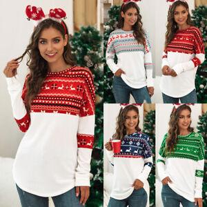 Womens-Shirt-Blouse-Ladies-Pullover-Long-Sleeve-Christmas-Tee-Loose-Xmas-Tops