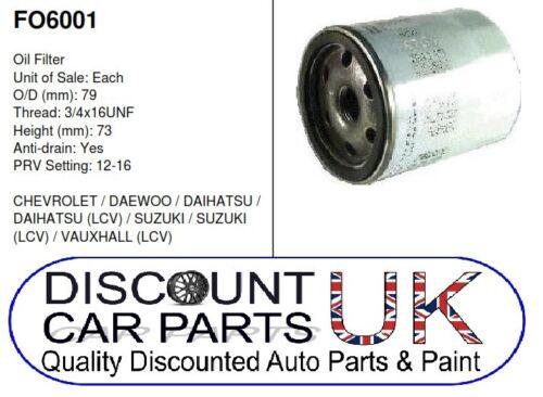 2//86-7//90 Oil Filter Vauxhall VAN Rascal 1.0 8v Bedford Rascal 970 PETROL