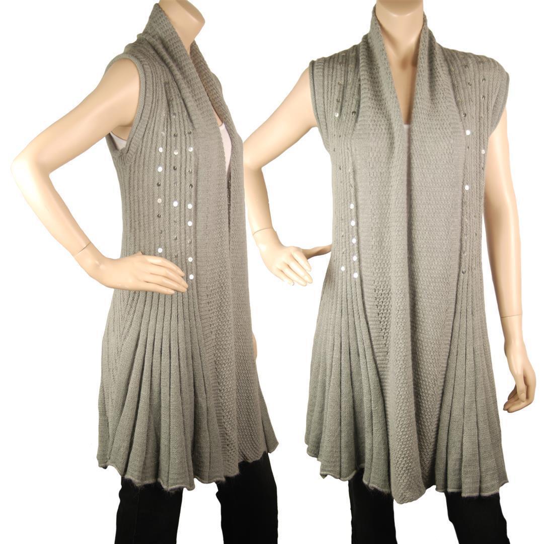 ConMiGo BS210 GlamGoldus Sleeveless grau Angora Sequin Cardigan
