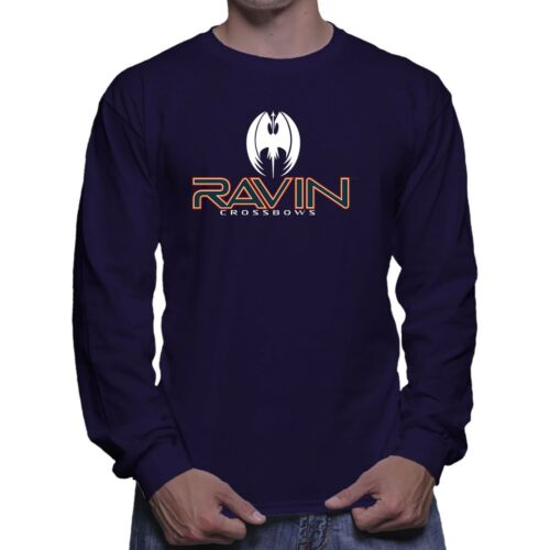 Ravin Crossbow Archery Bow Arrow Hunting Long Sleeve Navy Blue T-shirt Size S-5X