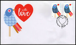 2018-With-Love-Embellished-Foil-Pair-Birds-FDC-First-Day-Covers-Stamps-Australia