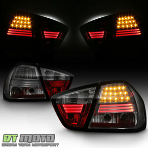 Smoked-2005-2008-BMW-E90-3-Series-Sedan-Lumileds-Tail-Lights-w-LED-Strip-Lamps