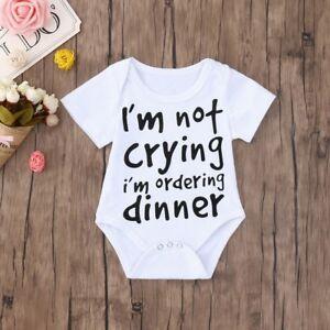 b80030cad Cute Summer Newborn Baby Boys Girls Funny Letter Print Romper ...