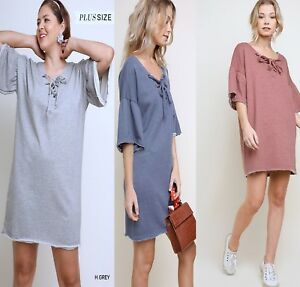 Details about PLUS SIZE XL-1XL-2XL BLU HEAVEN DENIM MAUVE GREY  Sweat/T-Shirt Dress/Tunic BHCS