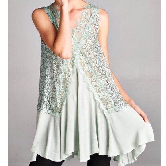 SOUTHERN GIRL FASHION Lace Swing Tunic Mint Floral Embroidered Eyelet Mini Dress