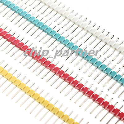 10 PCS 40 Pin Strip Breakable Pin Header Tin PCB Panel IC Male 2.54mm 5 colors