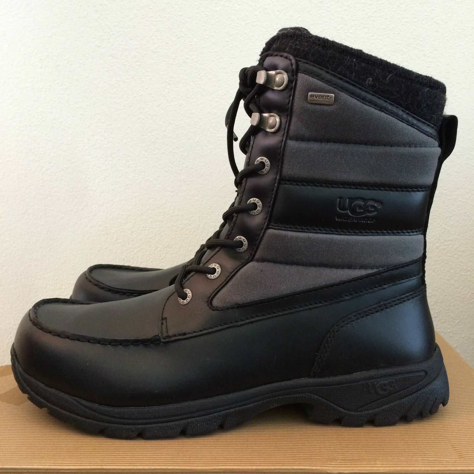 20a52ca8466 UGG Mens Size 11 Black Wynton Waterproof Leather Canvas BOOTS 1003352 M /  BLK
