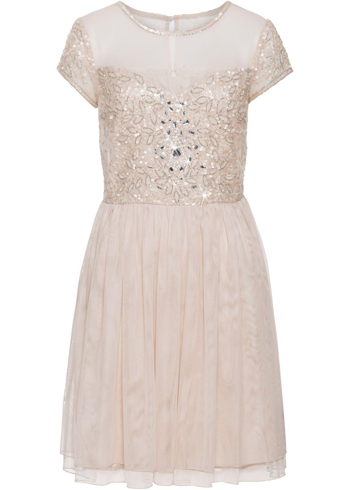 Kleid mit Besteickten Applikationen Gr. 38 Beige Damen Partykleid Abendkleid Neu