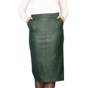 quality design run shoes Super discount Details about Casual Office Lined Pencil Green Faux Leather skirt UK 8 10  12 14 16 18 20 22