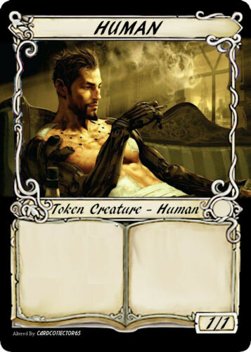 Human Token x4 {Custom} Commander 2020 MTG Magic the Gathering