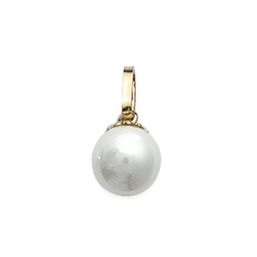 Pendentif perle nacrée crème et plaqué or 18 carats perle ronde 8 mm