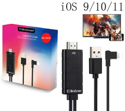 Mirascreen HDMI Cable Video Adapter For iPhone XS XR 5 6 6S 7 8 Plus iPad to TV