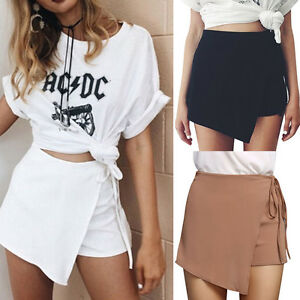 New-Fashion-Women-Irregular-Pants-High-Waist-Mini-Skirt-Shorts-Culottes-Wrap-Hot
