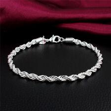 925 Silver 4mm Twist Rope Chain Bracelet Charm Bangle Women Men Hot Jewelry