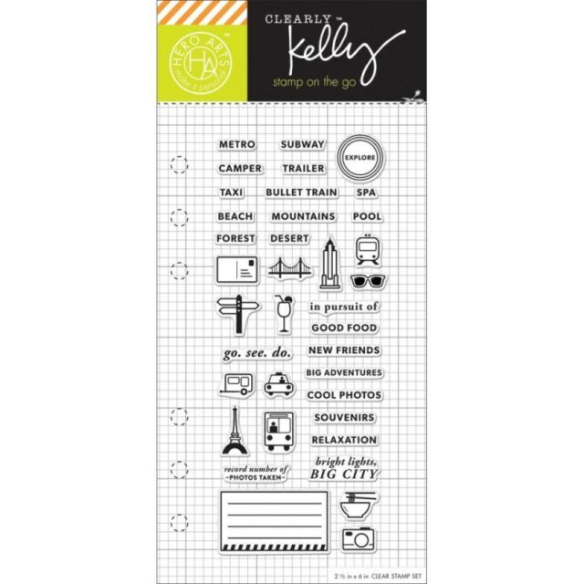 Clearly Kelly Adventure Planner Hero Arts Clear Acrylic Stamp Set CL932 NEW