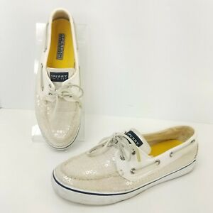 Sperry-Top-Sider-Boat-Shoes-Womens-Size-8-5-Slip-On-Loafer-Comfort-Sequin-Flats