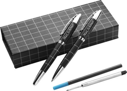 Schmalz® Schreibset CASTLE schwarz//silber mit edler Laser Gravur  graviert