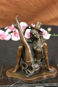 Nude-Female-Woman-Jazz-Dancer-Flapper-Bronze-Marble-Statue-Sculpture-Figurine