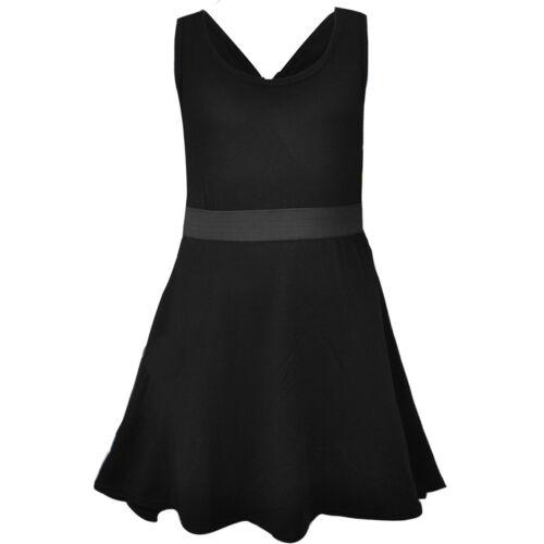Kids Girls Sleeveless Cross Back Skater Dress