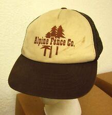 ALPINE FENCE COMPANY trucker cap Michigan nylon mesh hat 1980s broken snapback