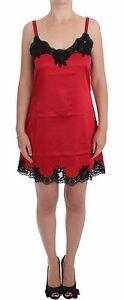 NEW-600-DOLCE-amp-GABBANA-Red-Black-Silk-Lace-Dress-Lingerie-Chemise-IT1-US-XS