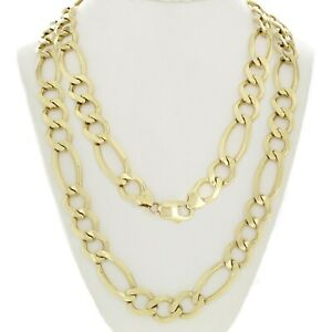 d101850fb0d45 Details about Men's 14k Yellow Gold Solid Figaro Link Chain Necklace 20