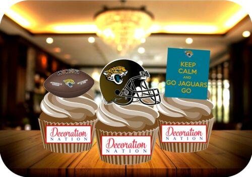 American Football Jacksonville Jaguars Mix 12 Edible STANDUP Cake Topper Sport