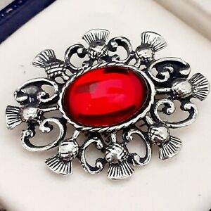 Vintage-Ruby-Red-Glass-Cabochon-Celtic-Scottish-Thistle-Pewter-Brooch-Pin
