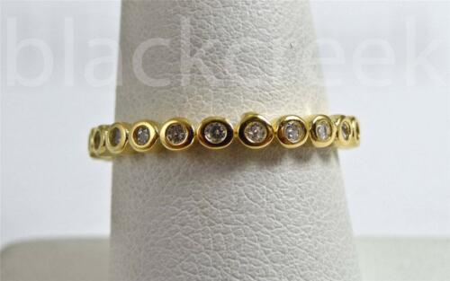 .75 cttw ~ Bezel Set ~White C.Z Eternity Stackable Sterling Silver Ring Band
