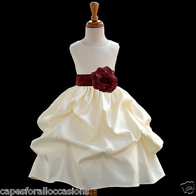 IVORY BUBBLE PICK-UP FLOWER GIRL DRESS BAPTISM EASTER FORMAL 6-12M 2 4 6 8 10 12