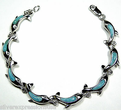 Genuine Larimar Inlay Solid 925 Sterling Silver Dolphin Link Tennis Bracelet