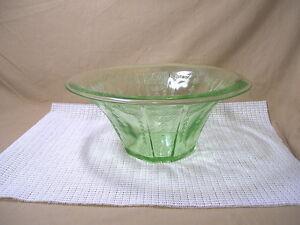 Vintage-Anchor-Hocking-Depression-Glass-Princess-Green-Pattern-Round-Bowl
