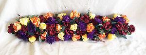 """36"""" Fall Arch Swag Burgundy Orange Chuppah Centerpieces Silk Wedding Flowers"""