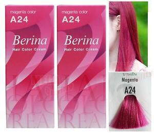 2 X Berina A24 Magenta Permanent Hair Dye Color Colour Cream