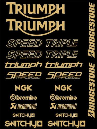 KIT ADESIVI GRAFICHE STICKERS MOTO SPONSOR GOLD CARENE TRIUMPH SPEED TRIPLE