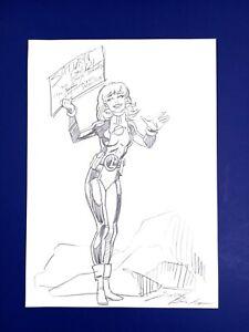 DARRYL BANKS Original SATURN GIRL Sketch Art Page Legionnaires GREEN LANTERN
