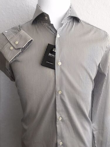 NWT $285 Hugo Boss Mens Tailored Slim Fit Dark Blue Stripe Dress Shirt 41//16