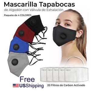 Mascarillas Tapa Boca con valvula lavable reusable algodon con 20 filtros 4 Pack