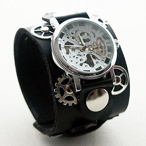 Black-Leather-Watch-Wrist-band-Bracelet-Steampunk-GOTHIC-Mechanical