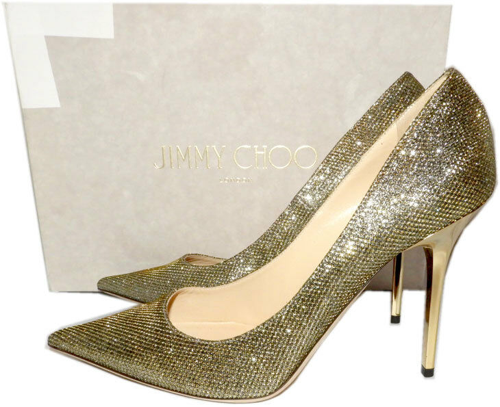 Choo Abel Jimmy Neu 9.5 40 Schuh Absatz Gold Glitzer