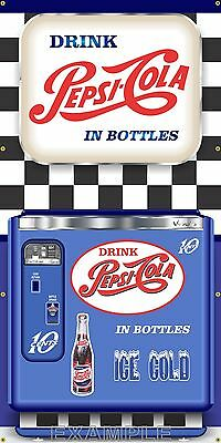 VINTAGE PEPSI COLA CHEST VENDING MACHINE STYLE BANNER SIGN MURAL ART 3' X 4'
